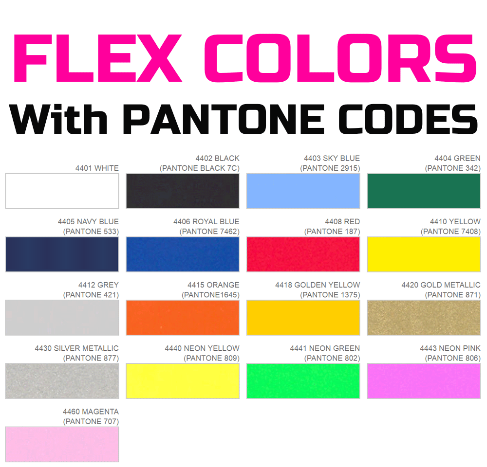 Flex Colors with Pantone codes