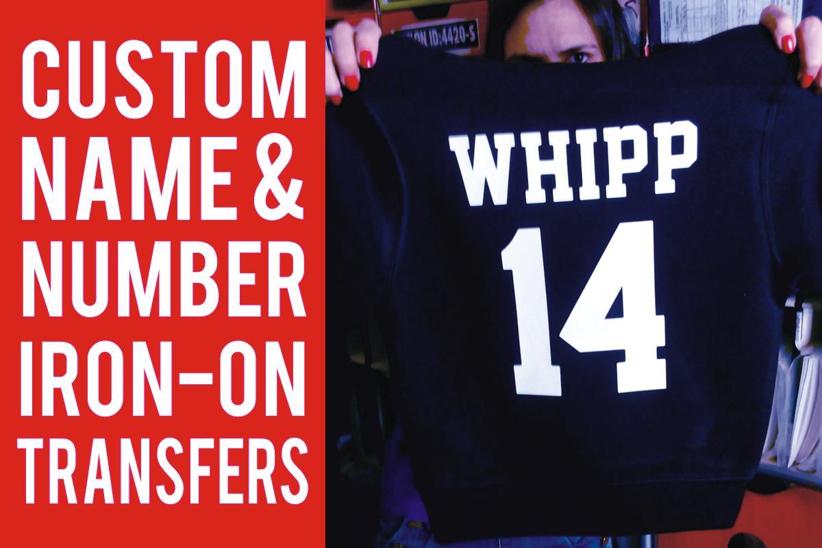 Custom Name & Number Iron-on Transfers