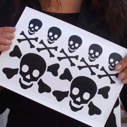 Small Skulls & Crossbones iron-on decals