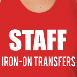 Staff id iron-on white transfers