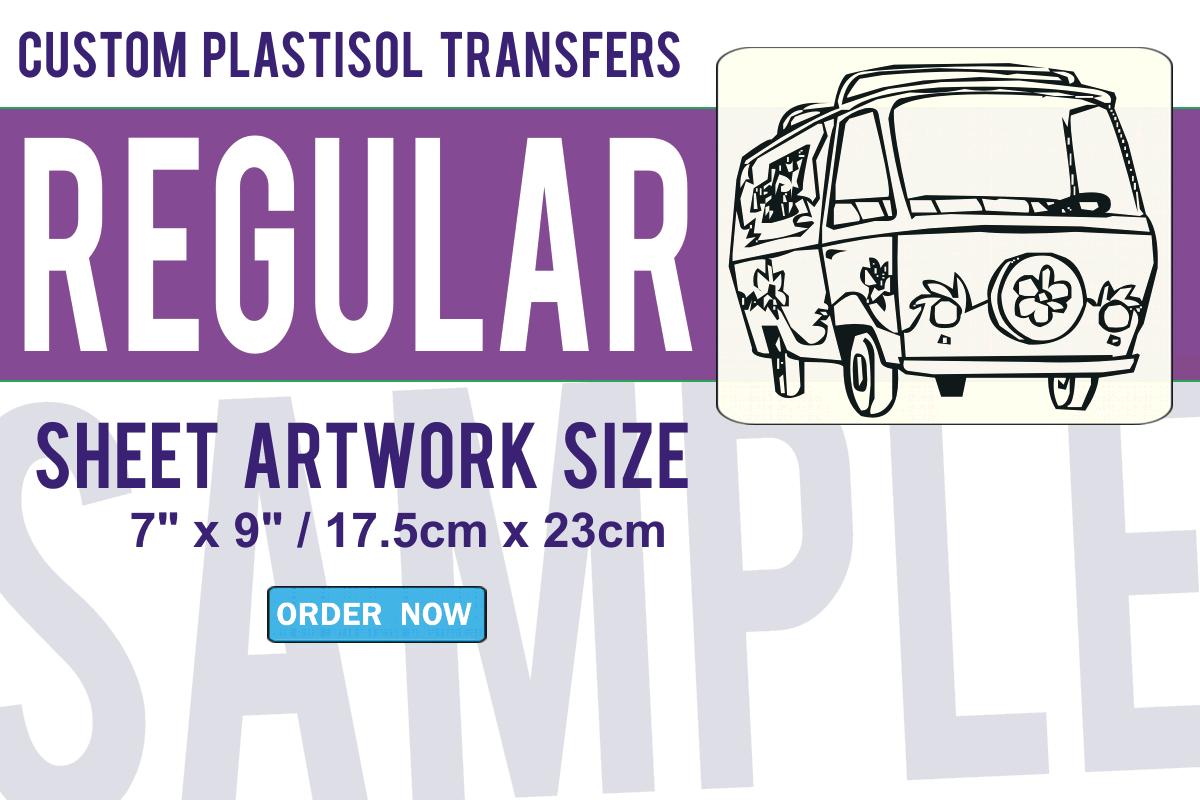 Regular Size Custom Plastisol Transfers