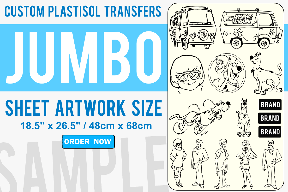 Jumbo Size Custom Plastisol Transfers