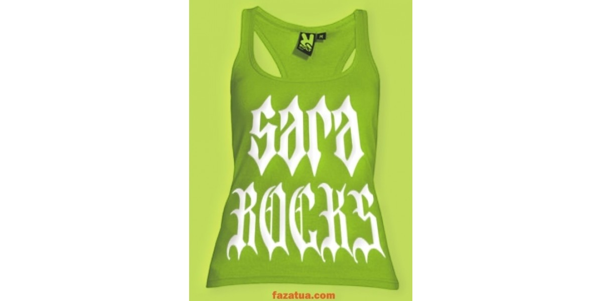 Sara Rocks gothic white letters on lime tank