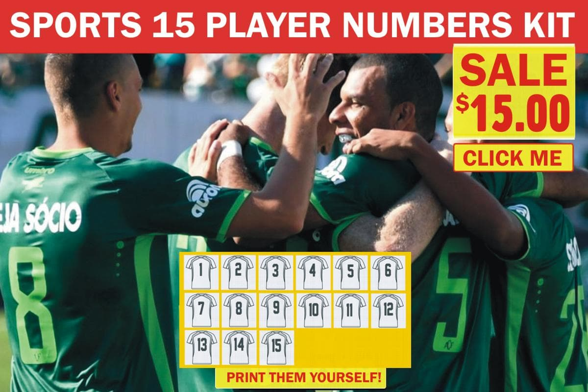 15 Player Numbers Kit Flex Vinyl