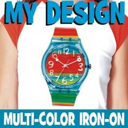 Custom multicolor iron-on white