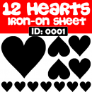 Hearts Iron-on Decals.