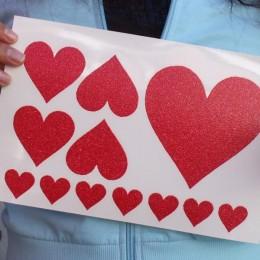 Glitter Hearts Iron-on Decals