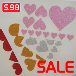Hearts Glitter Iron-on Decals