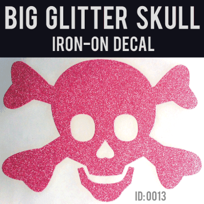 Big Glitter Skull Iron-on Decal