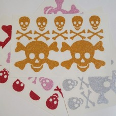 Skulls 7 Iron-on Transfers Glitter Decals