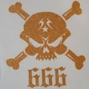 Skulls 666 Iron-on Transfers Glitter Decals