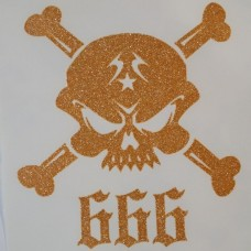 Skulls 666 Iron-on Transfers Glitter Decals