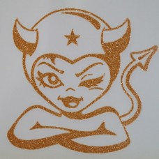 Devil Girl Iron-on Transfers Glitter Decals