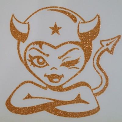 Devil Girl Iron-on Transfers Glitter Decals