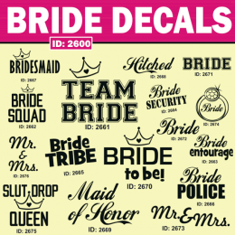 Bride iron-on decals