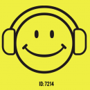 Happy face HeadPhones Iron-on Decal