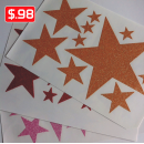 Glitter Stars Iron-on Transfers Decals