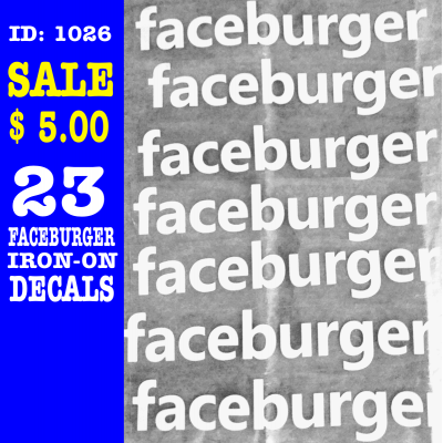 23 FaceBurger Iron-on Decals