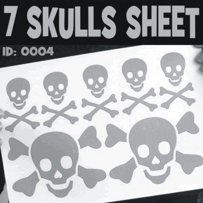7 Skulls Iron-on Decals Sheet