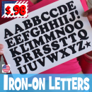 Fun Retro Iron-on Letters small size Uppercase.