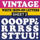 Vintage White Iron-on Letters
