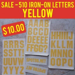 510 YELLOW Iron-on Letters Pack