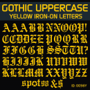 Gothic YELLOW Iron-on Letters
