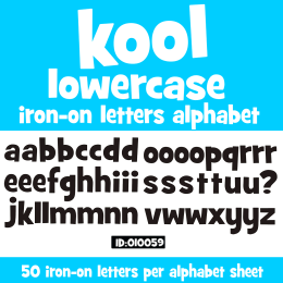 Kool Lowercase Vinyl Iron-on Letters Alphabet