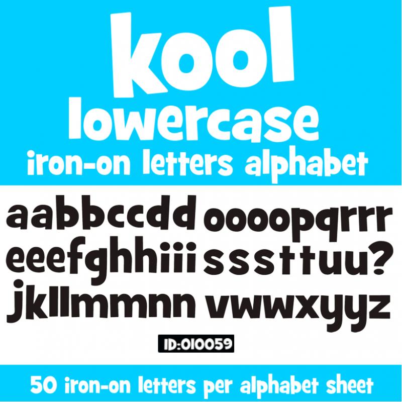kool lowercase vinyl iron on letters alphabet