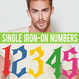 Single individual Iron-on Numbers & Symbols