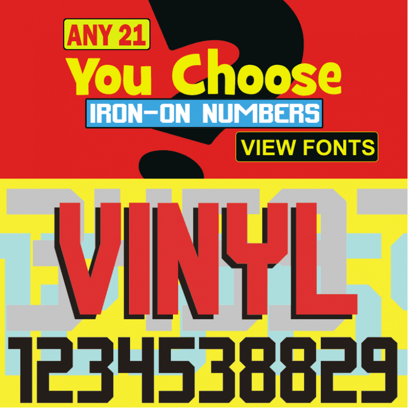 Vinyl 21 Iron On Numbers Pack From Small Half Inch To