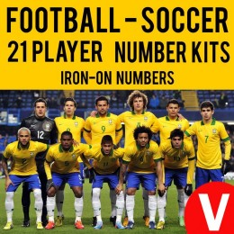 Soccer 21 Player Vinyl Iron-on Transfer Numbers Kit