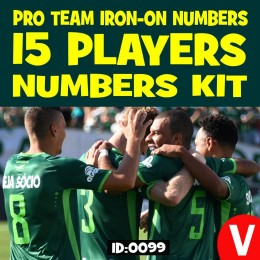 Team Iron-on Vinyl Numbers Kit for 15 Player Jerseys