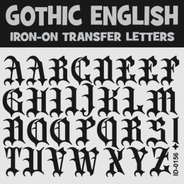 Gothic English Iron-on Letters Uppercase