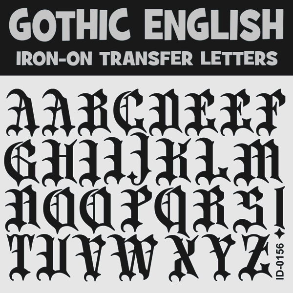 Gothic lettering iron on transfer letters alphabets a z old english iron on letters uppercase 15 inches thecheapjerseys Choice Image