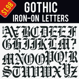 Gothic style Iron-on Transfer Letters Uppercase