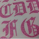 Gothic Glitter Iron-on Letters Uppercase