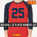 Baseball Player Numbers Iron-on Transfers Pro 8 inch