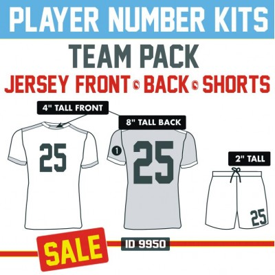Player Iron-on Number Sets for Front & Back of Jersey plus Shorts.
