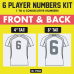 Player Front & Back Number Kits. 4 and 8 Inch Tall