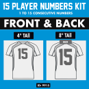 Jersey Front & Back Iron-on Number Sets 4 and 8 Inch.