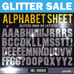 Glitter Block 2 inch uppercase Iron-on Letters.