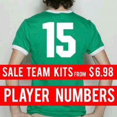 Player Iron-on Numbers 8 inch Team Kits.