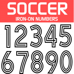 Soccer Iron-on Numbers 3 Line