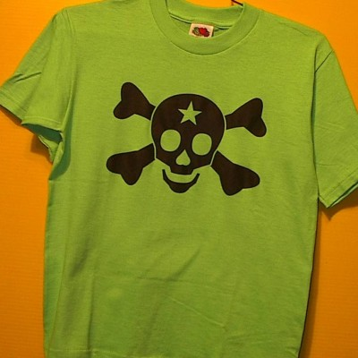 Skull and Bones Green T-Shirts