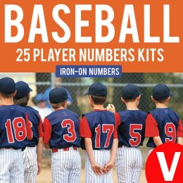 Baseball Team 25 Player Iron-on Numbers