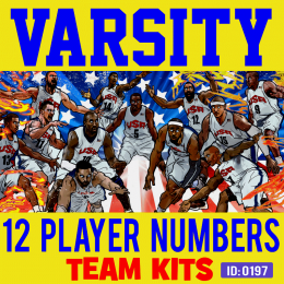 Varsity 12 Player Iron-on Numbers Kit
