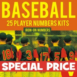 Baseball Team 25 Player Iron-on Numbers Pro Kit