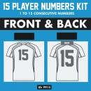 Sports Team 15 Players Iron-on Numbers Pack